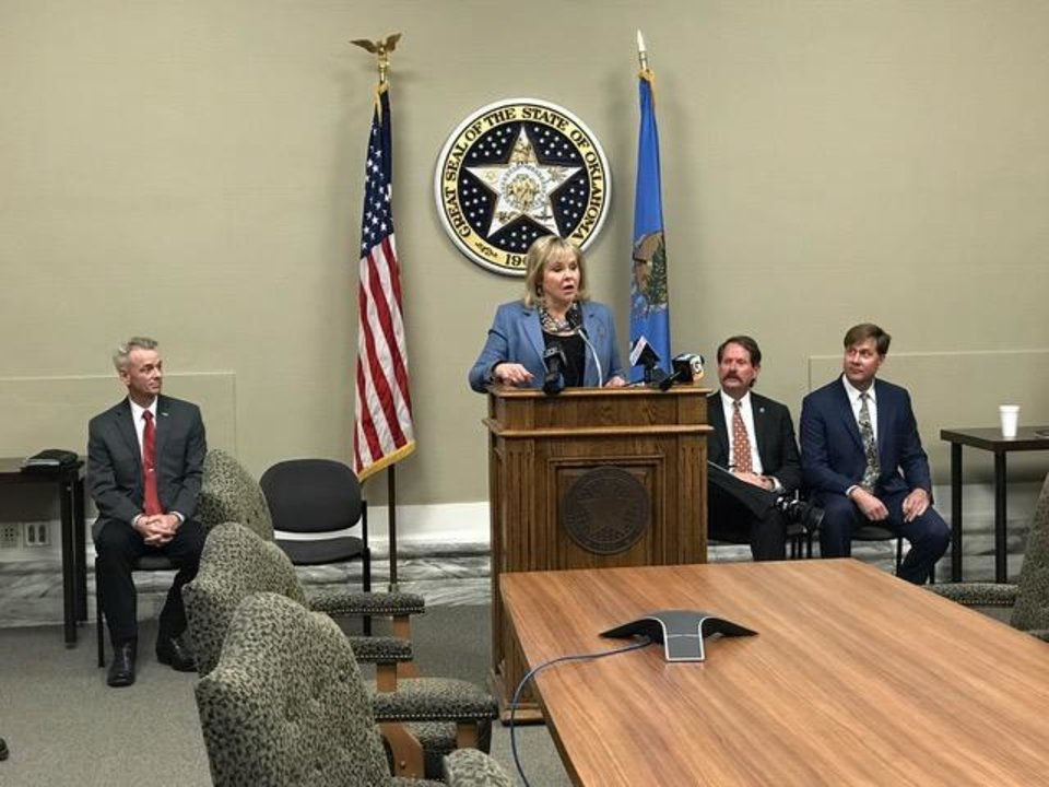 Photo - Gov. Mary Fallin leads a press conference at the state Capitol on Friday, Jan. 26, 2018. Photo by Jim Beckel/ The Oklahoman