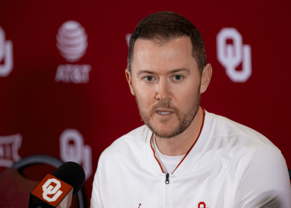 Photo - University of Oklahoma head football coach Lincoln Riley speaks during a press conference at OU in Norman, Okla. on Wednesday, Feb. 12, 2020.  [Chris Landsberger/The Oklahoman]