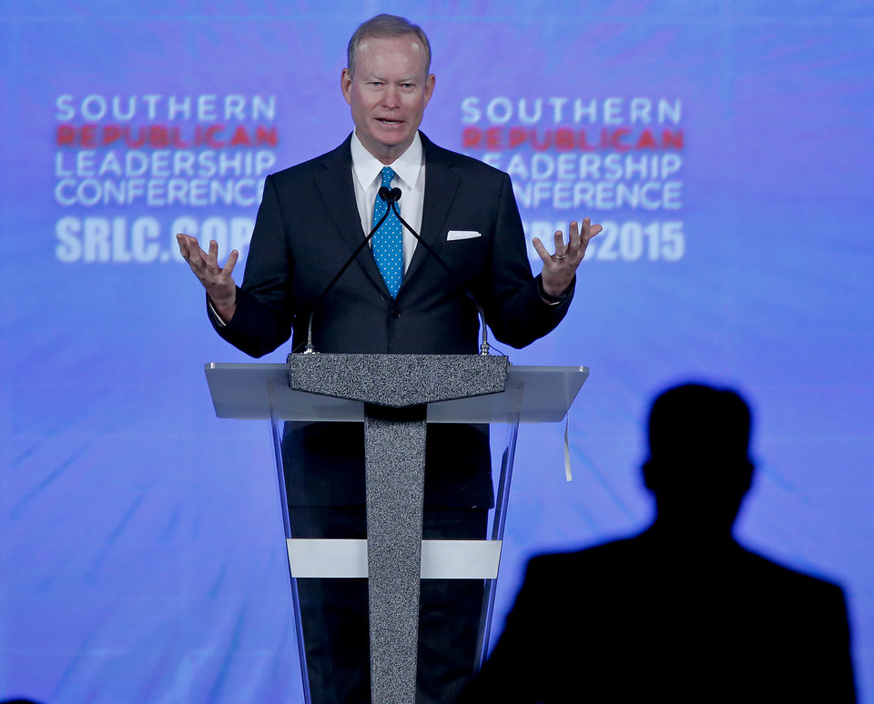 Photo - Mayor Mick Cornett speaks during the Southern Republican Leadership Conference at the Cox Convention Center in Oklahoma City, Okla. on Friday, May 22, 2015.   Photo by Chris Landsberger, The Oklahoman