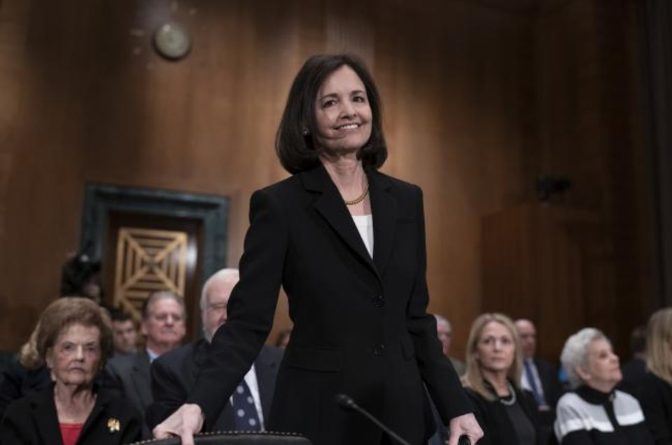 Photo -  President Donald Trump's nominee to the Federal Reserve, Judy Shelton, appears Thursday before the Senate Banking Committee for a confirmation hearing, on Capitol Hill in Washington. [AP PHOTO]