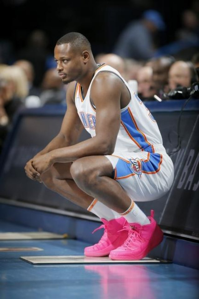 Photo - Oklahoma City's Deonte Burton (30) waits to check in during an NBA basketball game between the Oklahoma City Thunder and the Memphis Grizzlies at Chesapeake Energy Arena in Oklahoma City, Thursday, Feb. 7, 2019. Photo by Bryan Terry, The Oklahoman