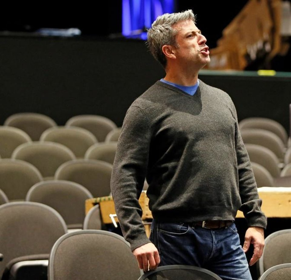 Photo - Director Michael Baron gives instructions during a rehearsal for Lyric Theatre's new musical