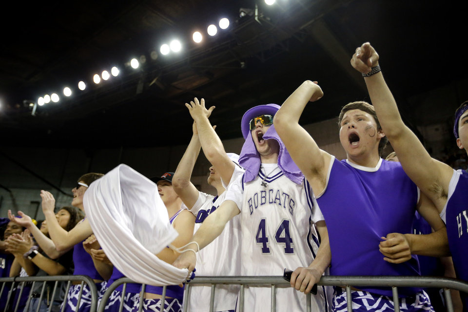 "Photo - Hydro-Eakly fans celebrate during the Class A girls basketball tournament championship game between Hydro-Eakly and Canute inside Jim Norick Arena, ""The Big House,"" at the OKC Fairgrounds in Oklahoma City,  Saturday, March 7, 2020. [Sarah Phipps/The Oklahoman]"