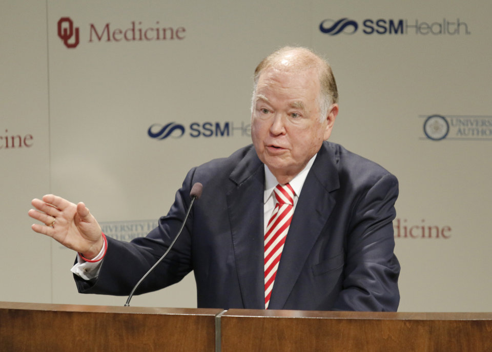 Photo - University of Oklahoma President David Boren speaks during a press conference to announce a partnership between OU Health Sciences Center and St. Anthony Hospital, SSM Health at Children's Hospital,Tuesday, October 26, 2016. Photo by Doug Hoke, The Oklahoman