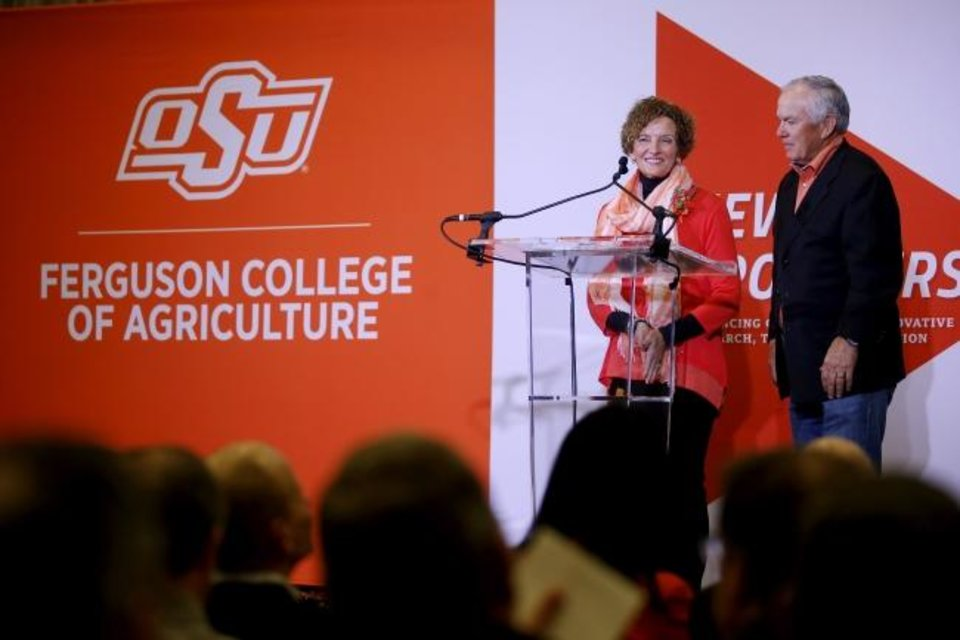 Photo -  Oklahoma State University alumni Kayleen and Larry Ferguson speak during press conference announcing their $50 million donation to the agricultural college at OSU in Stillwater, Okla., Wednesday, Jan. 15, 2020. [Bryan Terry/The Oklahoman]