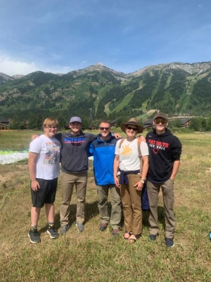 Photo -  Jim and Stacy Webb, third and fourth from the left, took their three youngest sons to Jackson Hole, Wyoming, this summer. With their two oldest boys in college, it gave Jim and Stacy a chance to spend some time with (left to right) Hank, Peter and Ben. [PROVIDED]