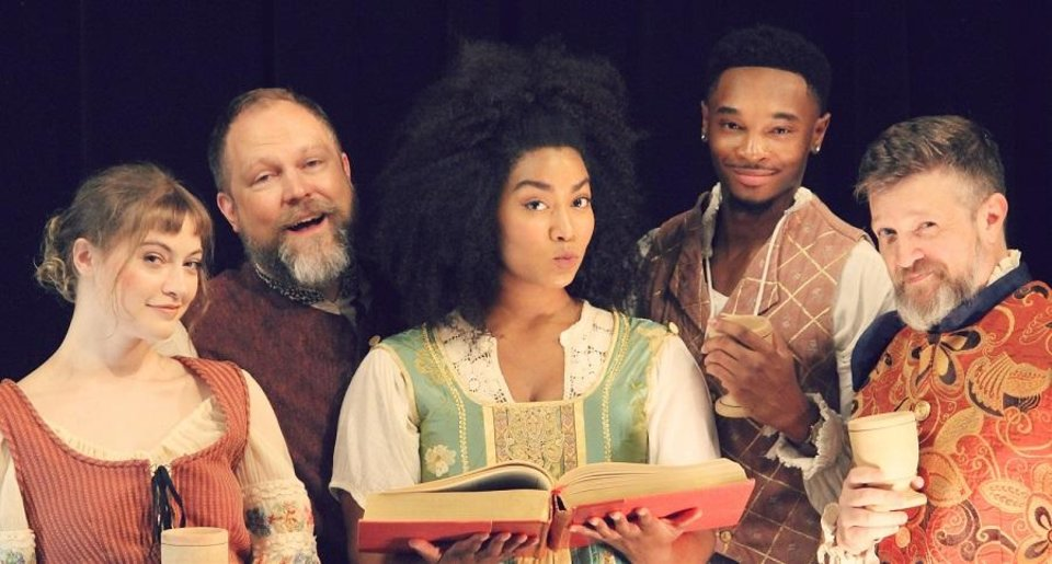 Photo - From left, Kate Kemmet, Tyler Woods, Aiesha Watley, Darius Freeman and Chris Rodgers star in Oklahoma Shakespeare's state premiere production of Lauren Gunderson's