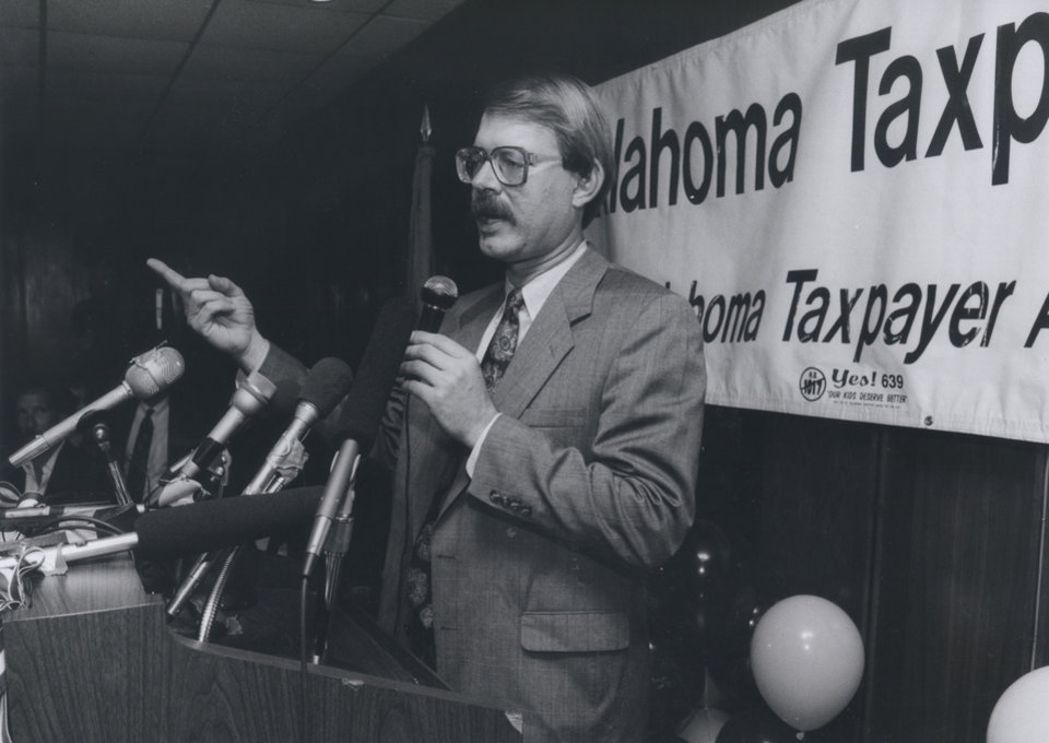 Photo - On Oct. 15, 1991, Dan Brown, Oklahoma Taxpayers Union founder, addressed the watch party crowd at the Howard Johnsons on N Lincoln Boulevard after it became evident HB 1017 had been retained as law. [Photo by Jim Beckel, The Oklahoman Archives]