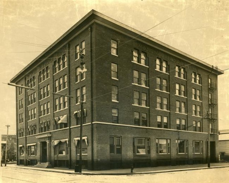 Photo -  The Western Newspaper Union built the five-story at 217 N Harvey Ave. in 1906 when it was providing national and international news content via engraved printing press plates to small town newspapers throughout the region. [PHOTO COURTESY OF THE OKLAHOMA HISTORICAL SOCIETY]