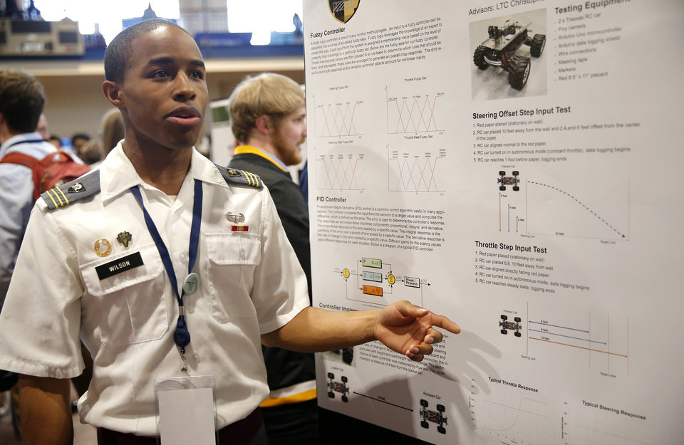 Photo - Cadet Brandon Wilson of West Point presents his research at the 2018 National Conference on Undergraduate Research at the University of Central Oklahoma in Edmond, Okla.,  Thursday, April 5, 2018. Photo by Sarah Phipps, The Oklahoman