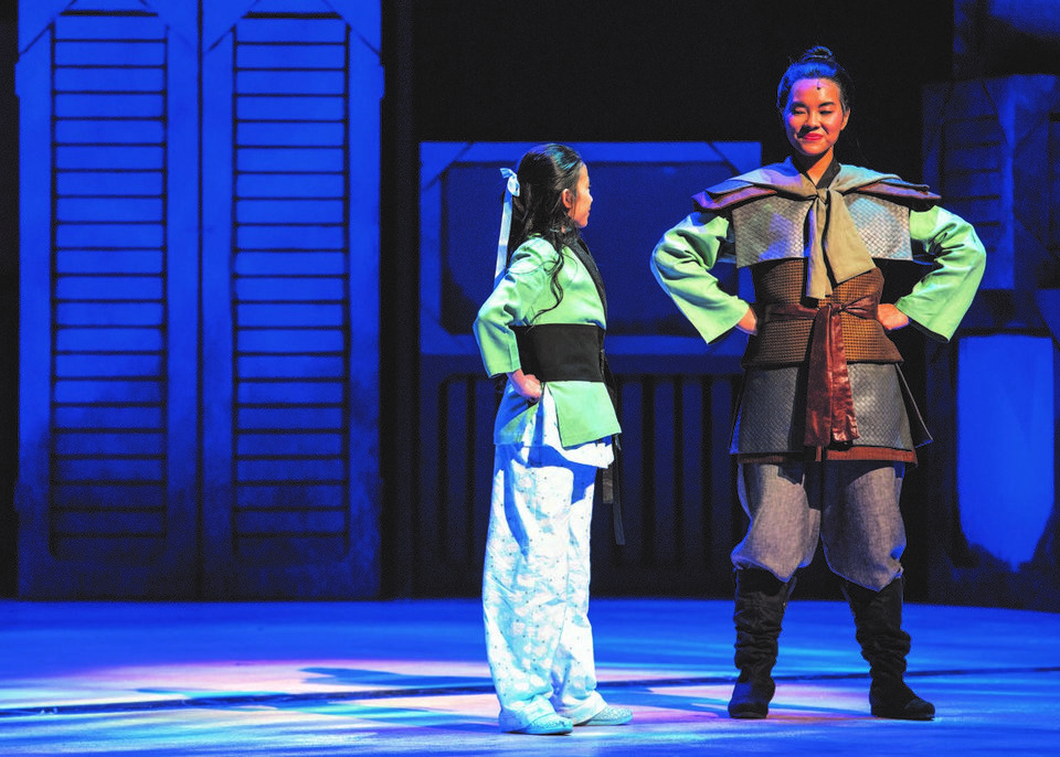 Photo -  Julie Welch as Mulan and Serena Feng as Little Girl. [Photo by K.O. Rinearson]