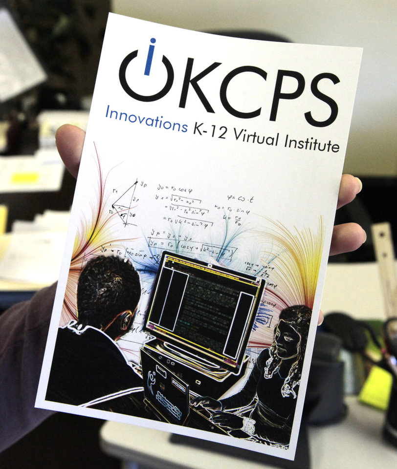 Photo -  This pamphlet gives information on the Innovative K-12 Virtual Institute program. Photo by David McDaniel, The Oklahoman   David McDaniel -