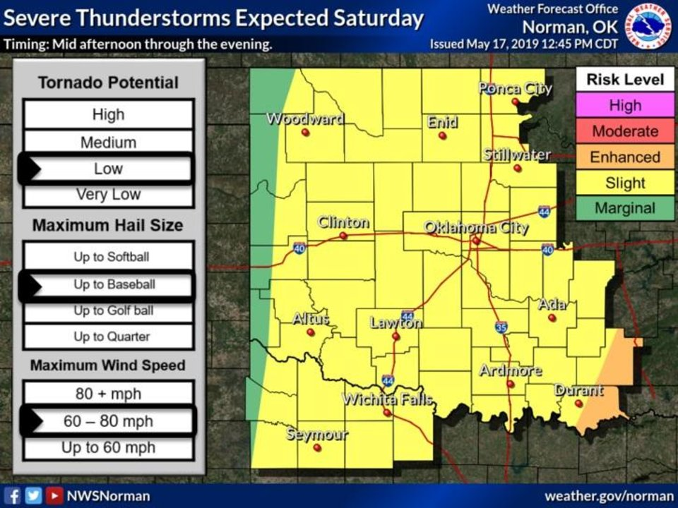 Photo - There is a risk for severe weather for much of Oklahoma on Saturday.