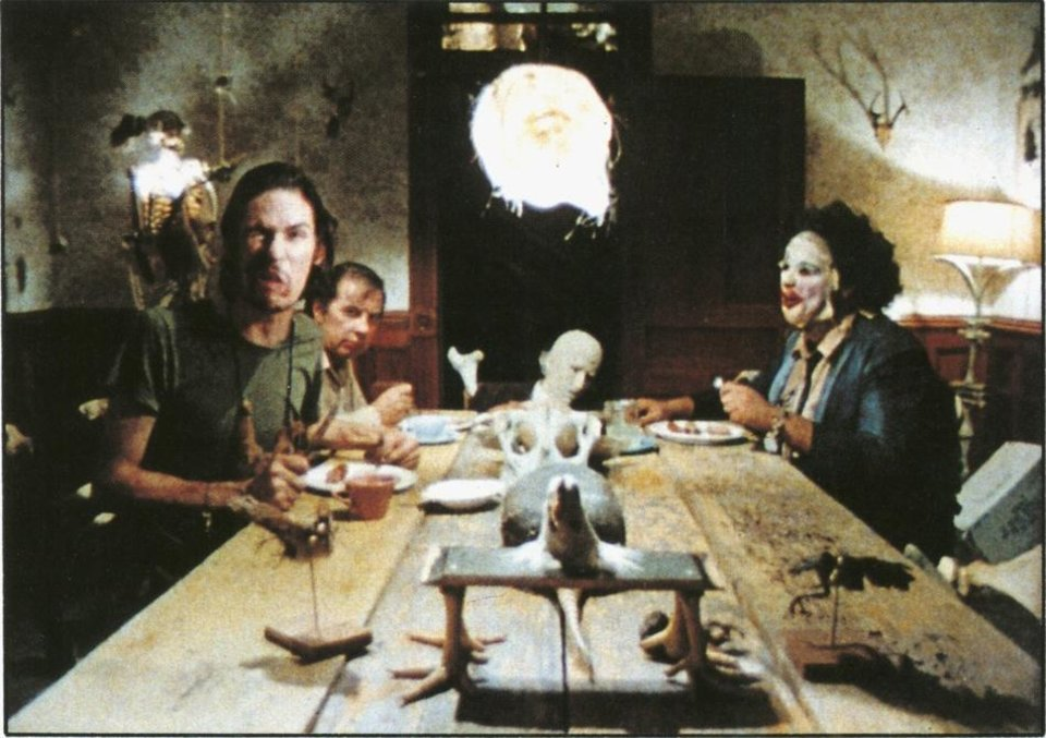 "Photo - A scene from the 1973 film ""The Texas Chain Saw Massacre"" shows Gunnar Hansen, right, as Leatherface."