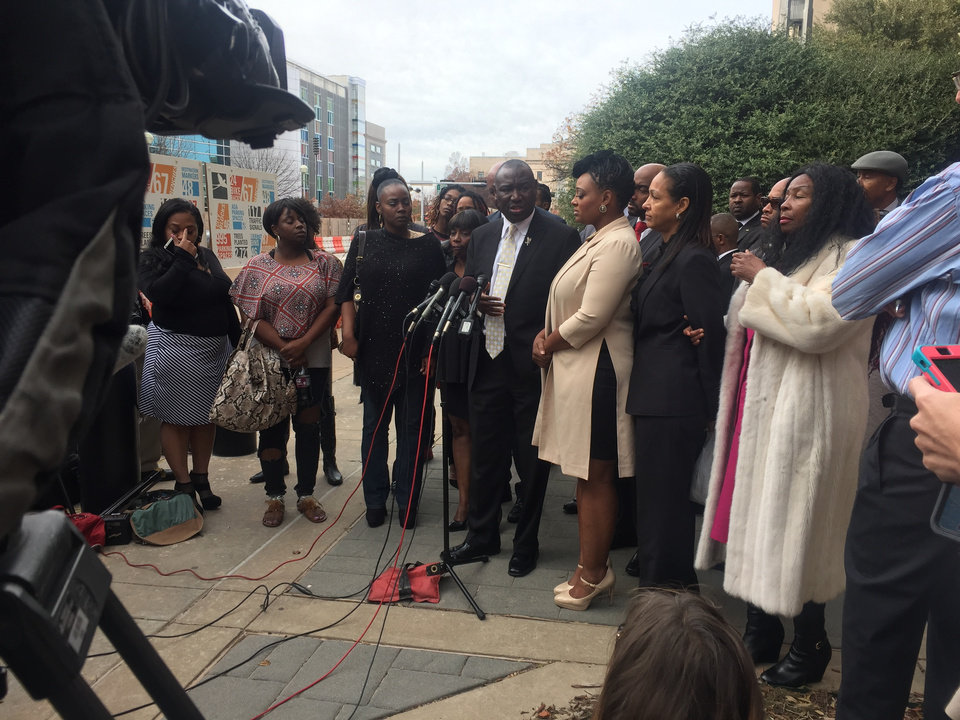 Photo - Attorney Benjamin Crump and victims Janie Liggins and Shaudee Hill speak to the media outside the Oklahoma County courthouse on Friday morning.