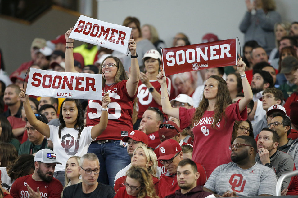 Photo - Oklahoma fans cheer during the Big 12 Championship Game between the University of Oklahoma Sooners (OU) and the Baylor University Bears at AT&T Stadium in Arlington, Texas, Saturday, Dec. 7, 2019. Oklahoma won 30-23. [Bryan Terry/The Oklahoman]