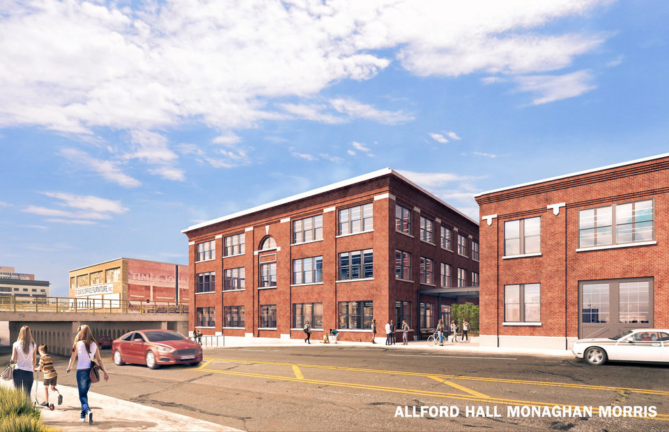 Photo -  A warehouse and garage once part of the city's early day telephone operator, Pioneer Telephone, is being redeveloped into a mix of retail and offices by Tribune Capitol. [Rendering by Allford Hall Monaghan Morris]