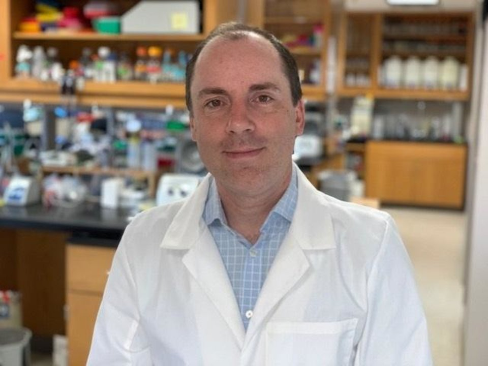 Photo -  Chris Sansam, Ph.D., was awarded TSET grant funding to purchase equipment advancing adult stem cell research to treat tobacco-related diseases. In the wake of the coronavirus, Sansam's equipment has been used to enhance testing of COVID-19. [PHOTO PROVIDED]