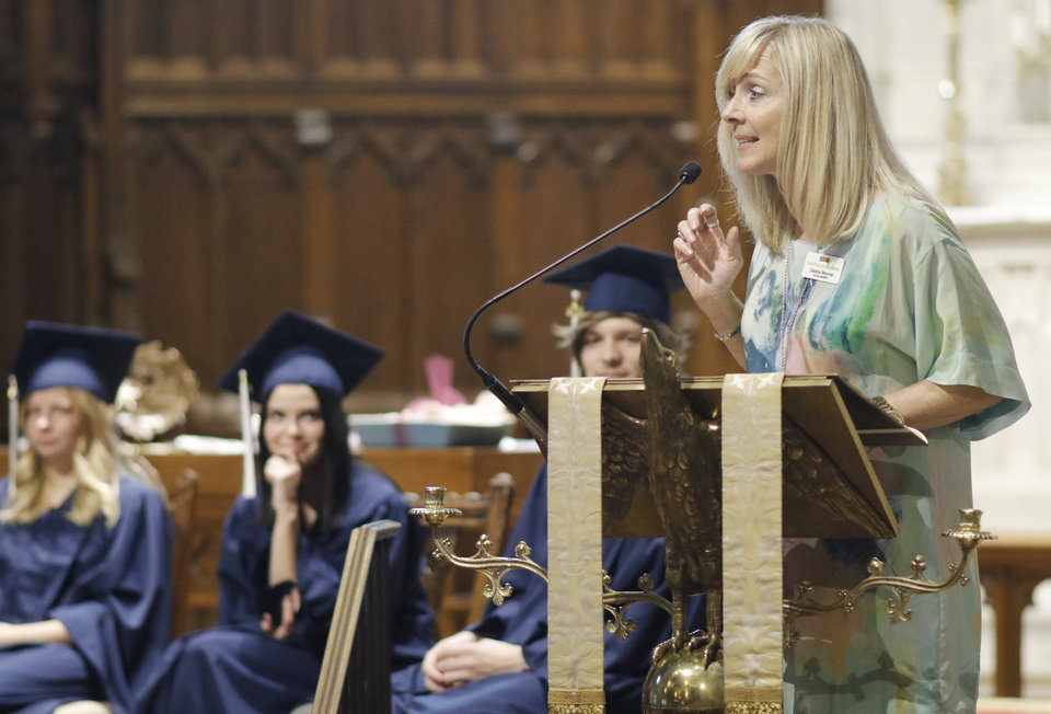 Photo - The Keynote Speaker, Debbie Monnet, addresses the crowd during the Teen Recovery Solutions (TRS) at Mission Academy high school graduation ceremony at St. Paul's Episcopal Cathedral, 127 NW 7th, in Oklahoma City, Thursday, May 26, 2016. Photo by Doug Hoke, The Oklahoman