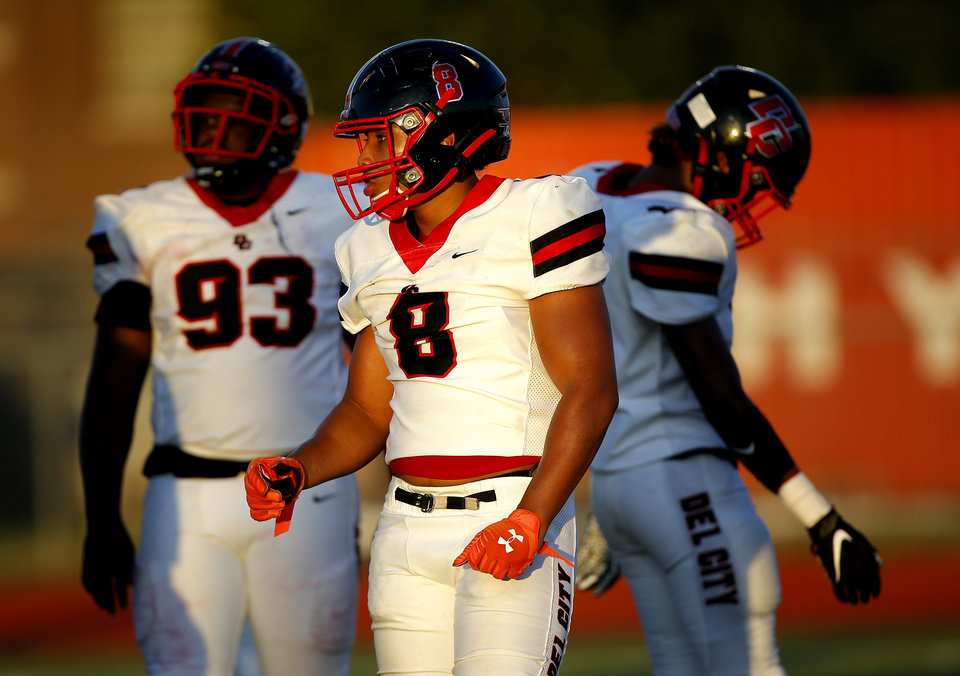 Photo - Del City's Rejhan Tatum walks to line up  during the high school football game between Carl Albert and Del City at Carl Albert High School in Midwest City, Okla., Friday, Sept. 13, 2019. [Sarah Phipps/The Oklahoman]