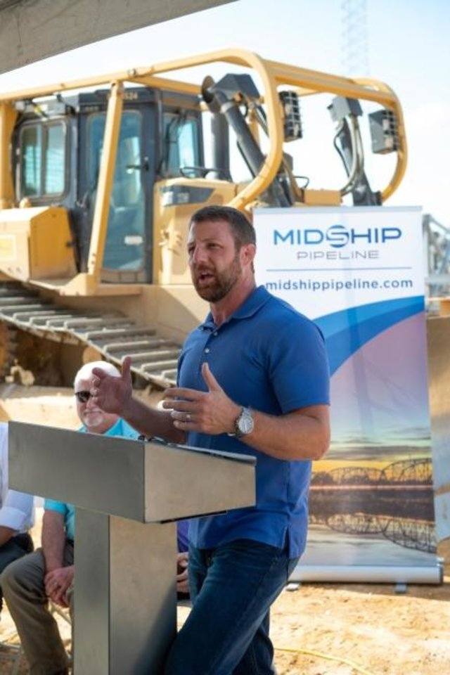 Photo -  U.S. Rep. Markwayne Mullin makes remarks at an event last week in Bennington that highlighted recent donations Midship Pipeline made to Bryan County, the community of Blue and area residents. [Provided]