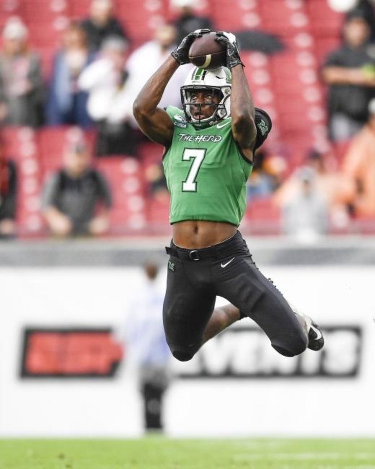 Photo -  Obi Obialo had 79 catches for 987 yards and four touchdowns over the past three seasons with the Thundering Herd. [Douglas DeFelice/USA TODAY Sports]