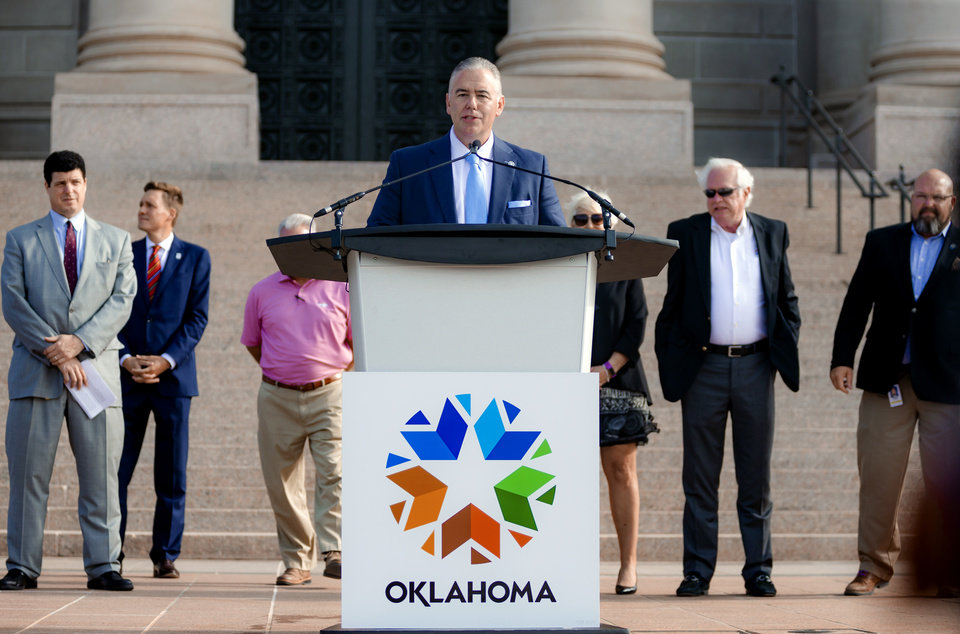 Photo - Secretary of Commerce & Workforce Development, Sean Kouplen, speaks during a press conference to announce that aerospace company Skydweller Aero will establishing its headquarters in Oklahoma at the Oklahoma State Capitol on Tuesday, June 30, 2020, in Oklahoma City, Okla. [Chris Landsberger/The Oklahoman]