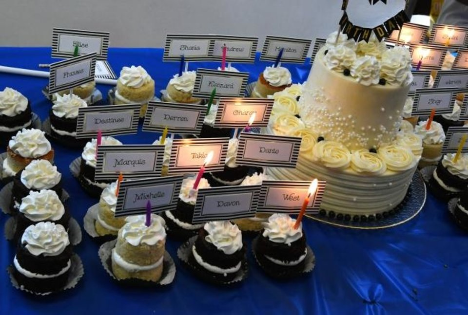 Photo -  A party for foster children featured a large cake and also individual little cakes (with their names on it) for each of the children attending a birthday party. [Michael S. Williamson/The Washington Post]