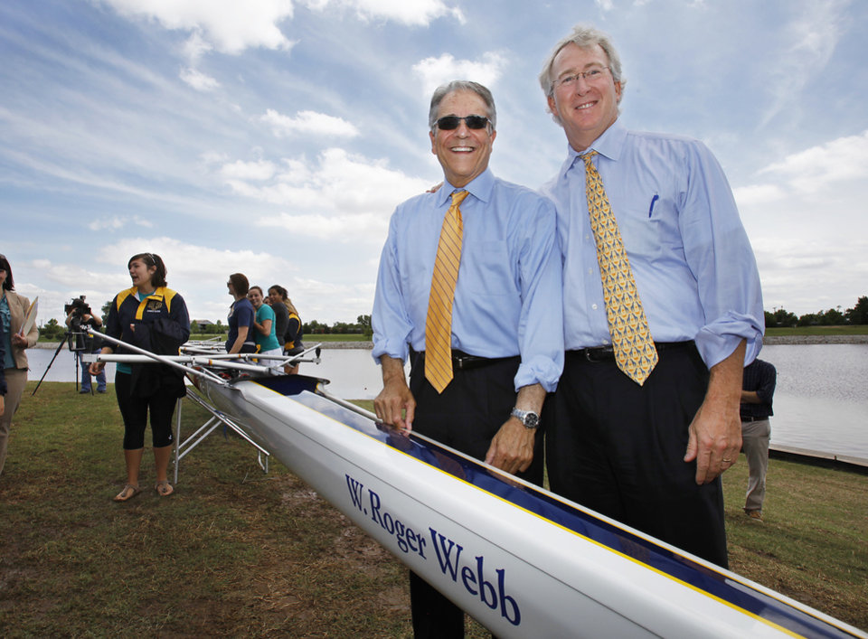 Photo -  University of Central Oklahoma President Roger Webb and Chesapeake Energy CEO Aubrey McClendon celebrate a groundbreaking for the UCO Boathouse on the Oklahoma River in 2010. [Photo by David McDaniel, The Oklahoman Archives]