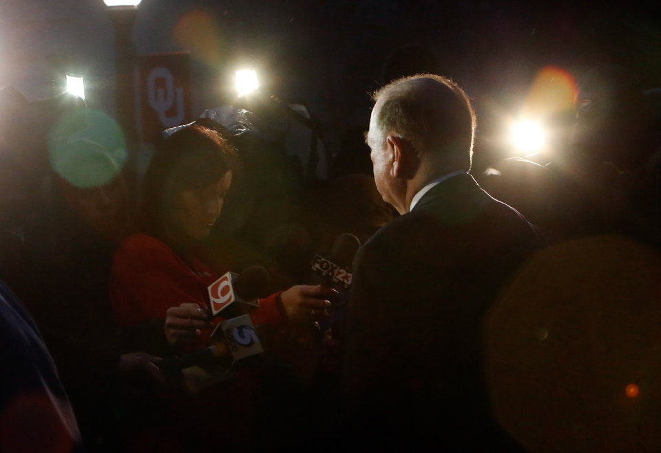 Photo - University of Oklahoma President David L. Boren speaks with the media as students protest a campus fraternity's racist comments on March 9, 2015 in Norman, Okla. Photo by Steve Sisney, The Oklahoman