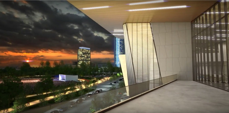 Photo -  The new convention center will include an expansive view of the downtown skyline and Scissortail Park.