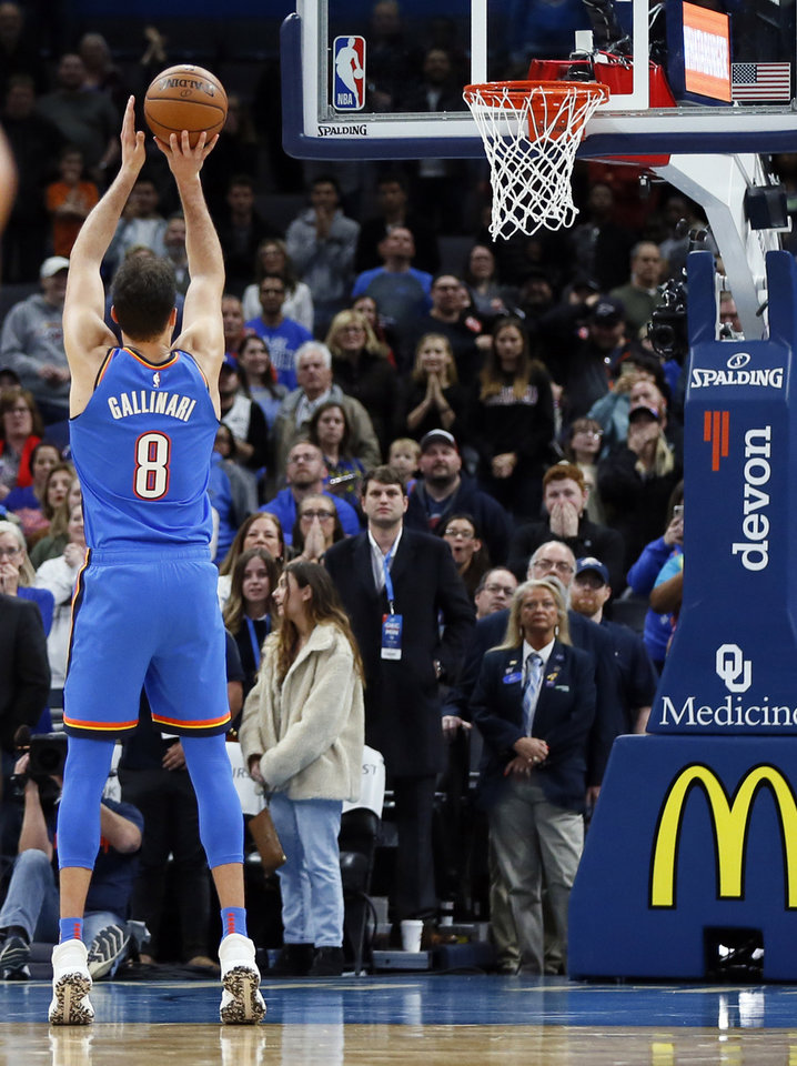 Photo - Oklahoma City's Danilo Gallinari (8) takes a technical foul shot with 1.1 seconds left in the fourth quarter during an NBA basketball game between the Minnesota Timberwolves and the Oklahoma City Thunder at Chesapeake Energy Arena in Oklahoma City, Friday, Dec. 6, 2019. Oklahoma City won 139-127 in overtime. [Nate Billings/The Oklahoman]