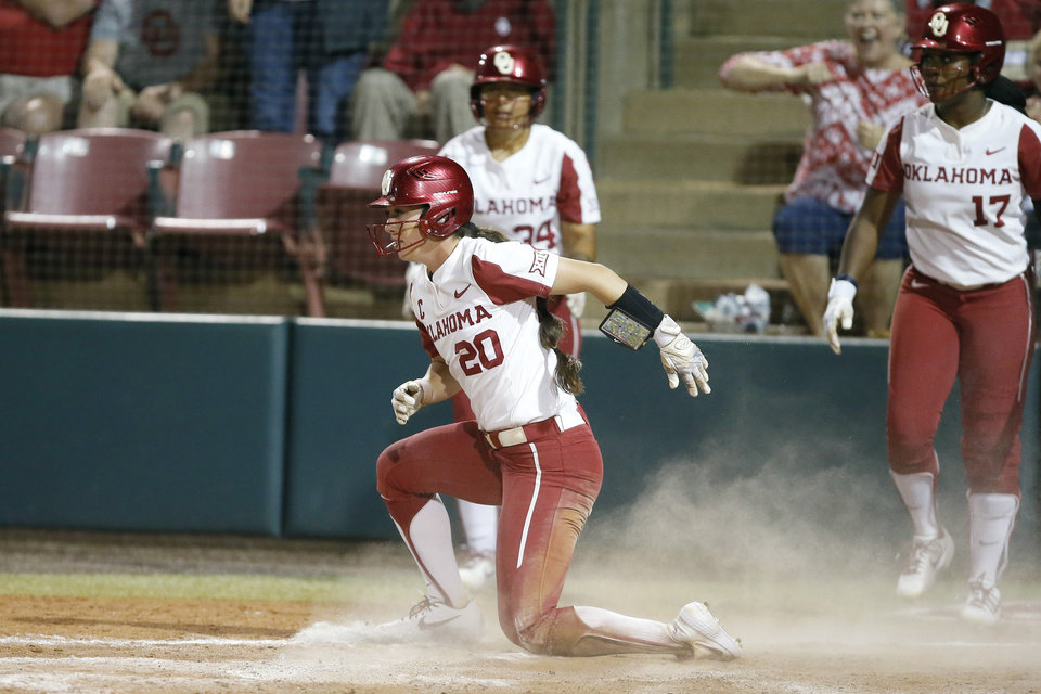 Photo - Oklahoma's Caleigh Clifton (20) scores in the fourth inning of the Norman Regional NCAA softball tournament game between the University of Oklahoma (OU) and UMBC in Norman, Okla., Friday, May 17, 2019. Oklahoma won 12-0.  [Bryan Terry/The Oklahoman]