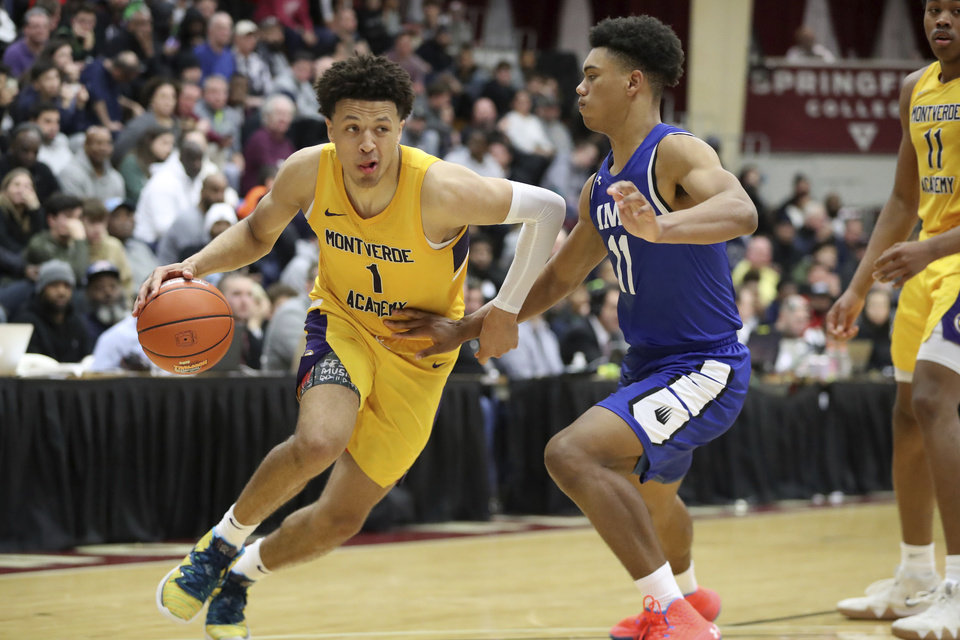 Photo - Montverde Academy's Cade Cunningham #1 in action against IMG Academy during a high school basketball game at the Hoophall Classic, Sunday, January 19, 2020, in Springfield, MA. Montverde won the game. (AP Photo/Gregory Payan)