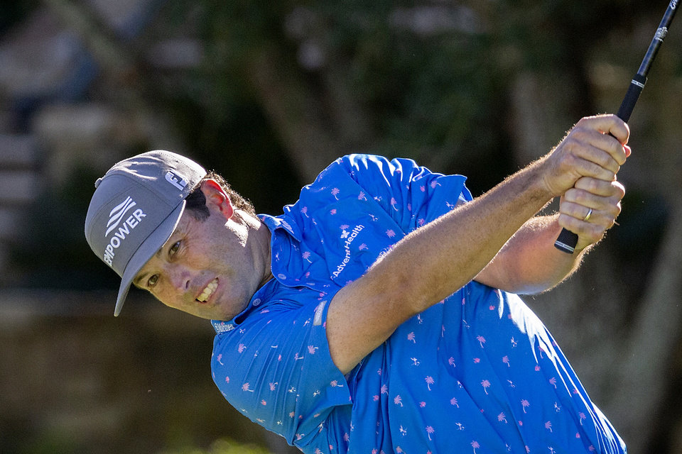Photo -  Robert Streb hits his ball down the 10th fairway during third round of the RSM Classic golf tournament Saturday in St. Simons Island, Ga. [AP Photo/Stephen B. Morton]