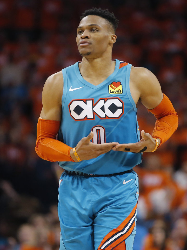Photo - Oklahoma City's Russell Westbrook (0) celebrates after a basket during Game 3 in the first round of the NBA playoffs between the Portland Trail Blazers and the Oklahoma City Thunder at Chesapeake Energy Arena in Oklahoma City, Friday, April 19, 2019. Oklahoma City won 120-108. Photo by Bryan Terry, The Oklahoman