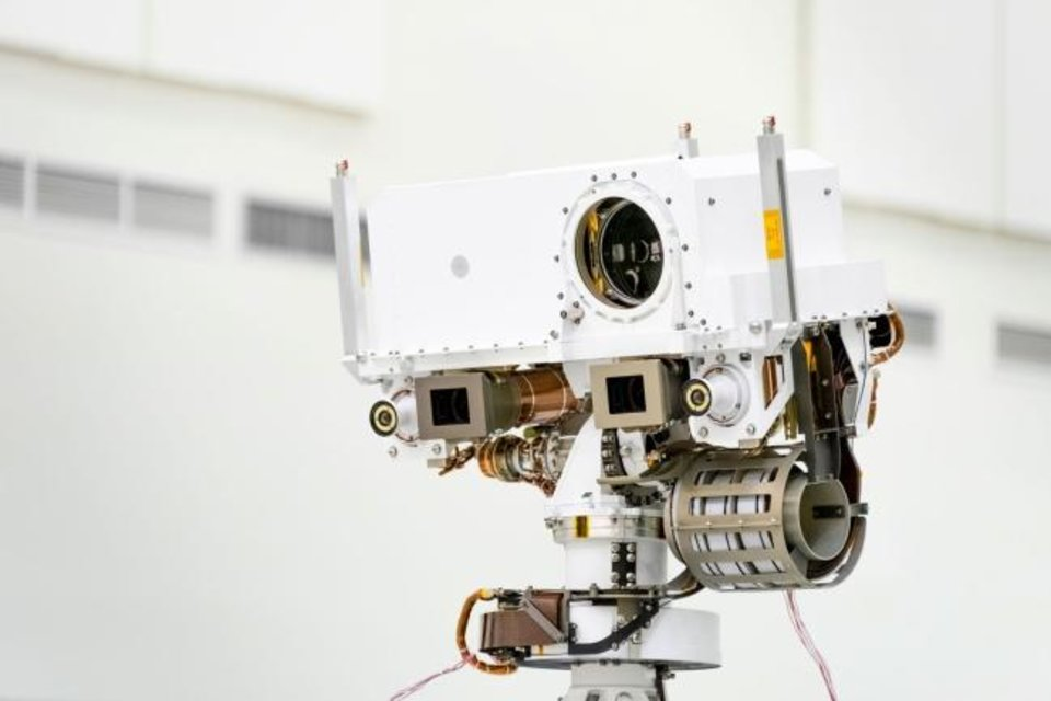 Photo -  This image, taken in the Spacecraft Assembly Facility's High Bay 1 at the Jet Propulsion Laboratory in Pasadena, California, on July 23, 2019, shows a close-up of the head of Mars 2020's remote sensing mast. [NASA/JPL-CALTECH]