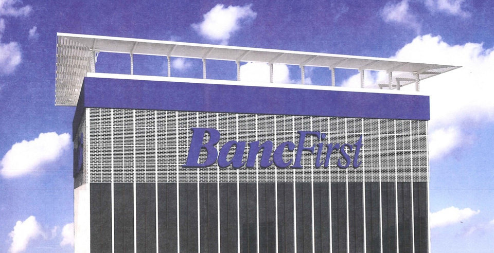 Photo -  A rendering shows how the logo of BancFirst is planned to be displayed atop the 36-story tower at 100 N Broadway that the Oklahoma City banking company has purchased. [RENDERING PROVIDED]