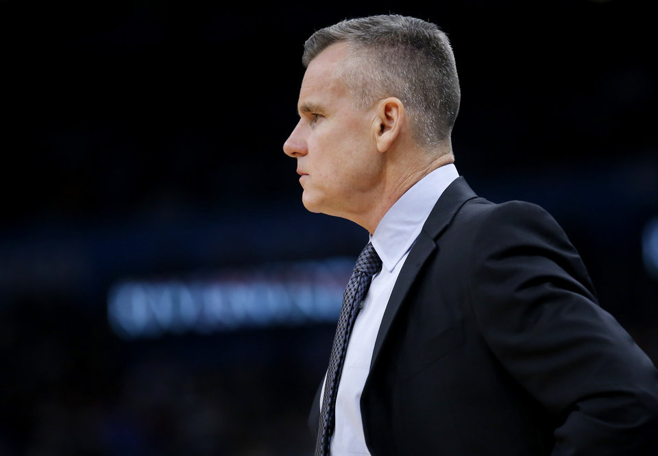 Photo - Oklahoma City head coach Billy Donovan reacts during the NBA game between the Oklahoma City Thunder and the Memphis Grizzlies at the Chesapeake Energy Arena in Oklahoma City, Thursday, Dec. 26, 2019.  Oklahoma City loss to Memphis 110-97. [Sarah Phipps/The Oklahoman]