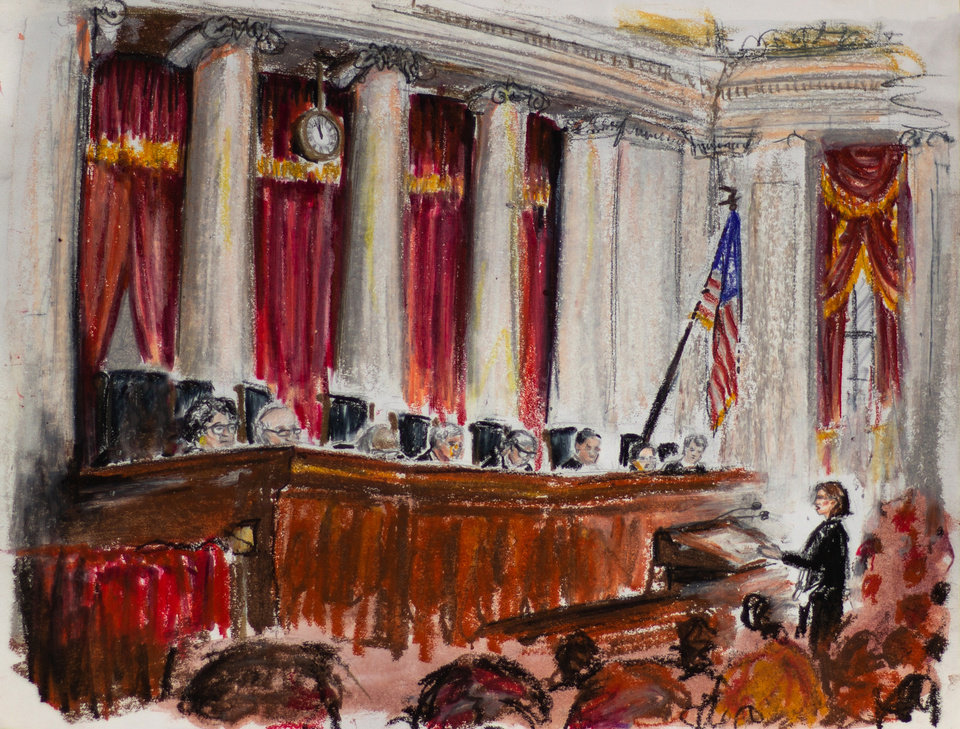 Photo -  Lisa Blatt, a private attorney representing the state of Oklahoma, argues before the U.S. Supreme Court on Tuesday in Washington, D.C. [Sketch by Megan Ross, Gaylord News]
