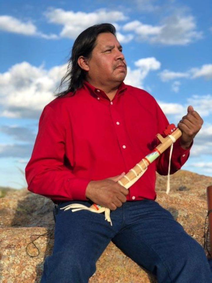 Photo -  Based in Tulsa, Timothy Tate Nevaquaya is a painter and flutist of Comanche, Choctaw and Chickasaw heritage. He will perform Saturday with the Oklahoma City Philharmonic. [Photo provided]