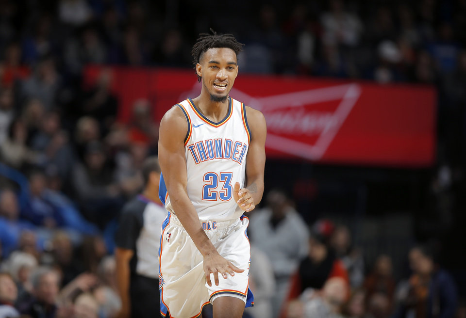 Photo - Oklahoma City's Terrance Ferguson (23) celebrates after making a 3-pointer during an NBA basketball game between the Oklahoma City Thunder and the New Orleans Pelicans at Chesapeake Energy Arena in Oklahoma City, Thursday, Jan. 24, 2019. Photo by Bryan Terry, The Oklahoman