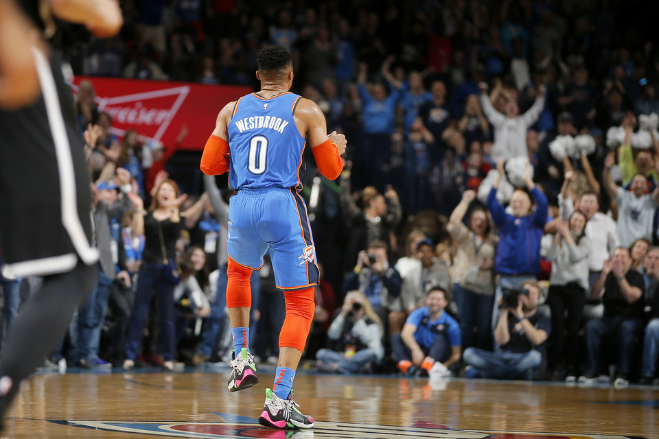 Photo - Oklahoma City's Russell Westbrook (0) dances after making a basket during an NBA basketball game between the Oklahoma City Thunder and the Brooklyn Nets at Chesapeake Energy Arena in Oklahoma City, Wednesday, March 13, 2019. Oklahoma City won 108-96. Photo by Bryan Terry, The Oklahoman