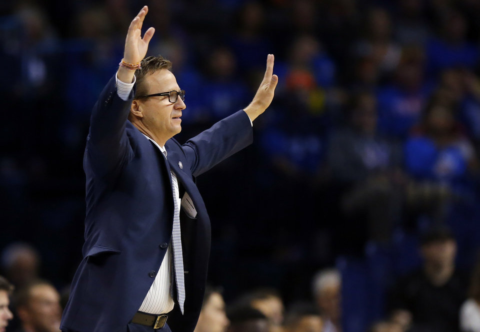 Photo - Scott Brooks reacts to a call during the NBA basketball game between the Oklahoma City Thunder and Sacramento Kings at Chesapeake Energy Arena, Sunday, Nov. 9, 2014.  Photo by Sarah Phipps, The Oklahoman