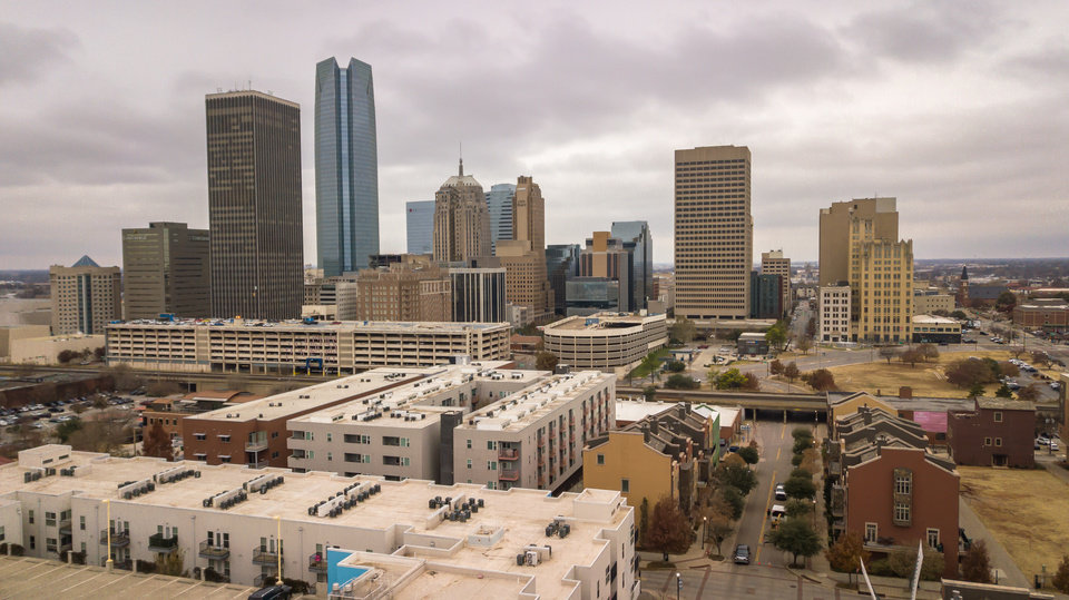 Photo -  Drone image of OKC skyline, looking west/southwest from NE 3 and Walnut. [Image by Dave Morris/The Oklahoman]