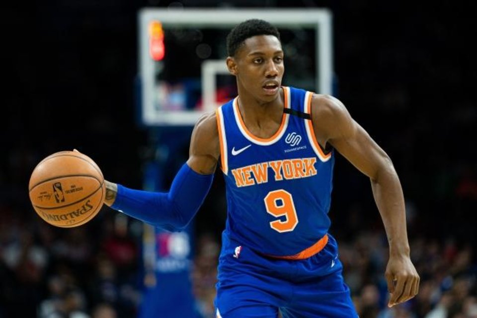 Photo -  Feb 27, 2020; Philadelphia, Pennsylvania, USA; New York Knicks guard RJ Barrett (9) passes the ball against the Philadelphia 76ers during the first quarter at Wells Fargo Center. Mandatory Credit: Bill Streicher-USA TODAY Sports