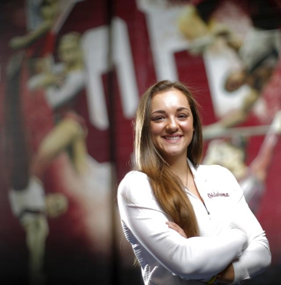 Photo -  University of Oklahoma gymnast Maggie Nichols poses for a photo on the OU campus in Norman, Okla., Tuesday, Jan. 29, 2019. Photo by Bryan Terry, The Oklahoman