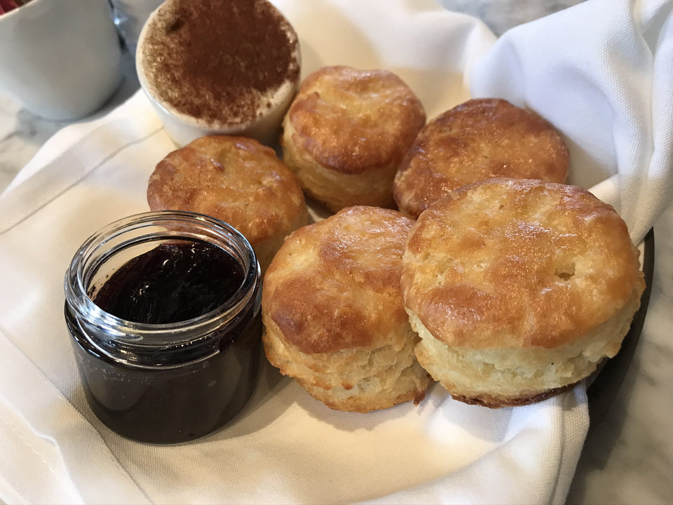 Photo - House-made biscuits with jam and butter at The Jones Assembly in Oklahoma City. [Dave Cathey/The Oklahoman]