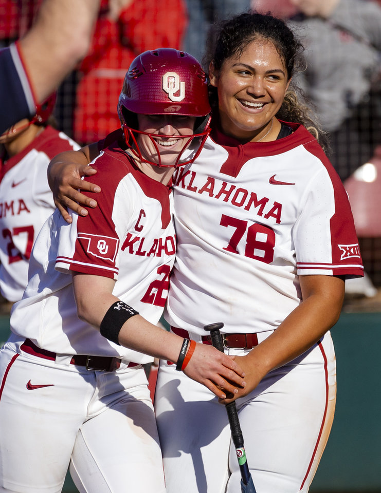 Photo - Oklahoma's Lynnsie Elam (22) and Jocelyn All (78) celebrate Elam's homer during the college softball game between the University of Oklahoma Sooners (OU) and Northwester University Wildcats (NU) at Marita Hynes Field in Norman, Okla. on Friday, Feb. 28, 2020.    [Chris Landsberger/The Oklahoman]