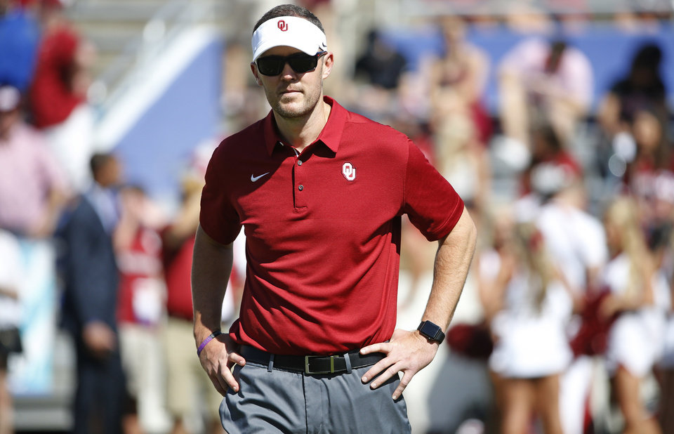 Photo -  Oklahoma coach Lincoln Riley hopes his football team — and Sooner fans — put on a good show for the many recruits expected to attend Saturday's game. [AP PHOTO]